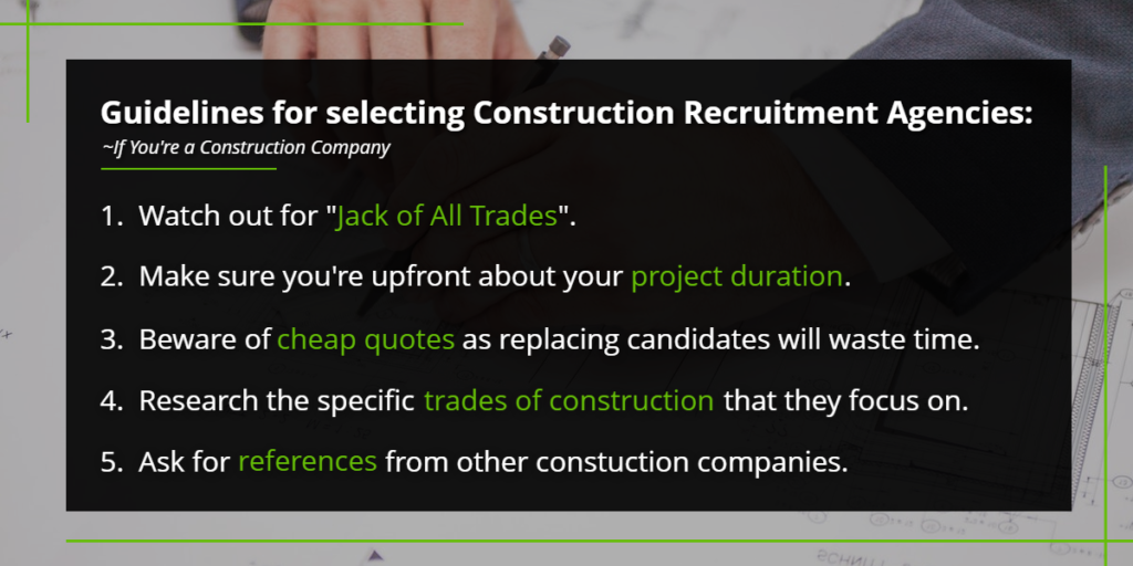 Guidelines for selecting construction recruitment agencies | Harbinger Network]
